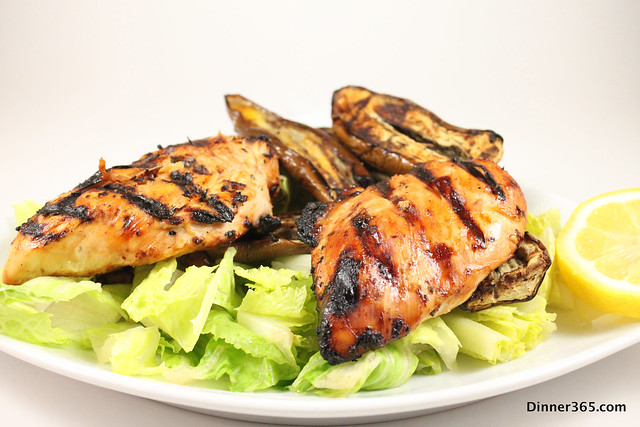 Day 113 - Grilled Chicken Salad and Eggplant