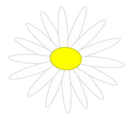 white daisy sketch clipart, 7cm wide