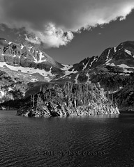 Lake Agnes Mountain Island (Fort Photo) Tags: blackandwhite bw lake nature vertical landscape island nikon colorado scenic co nik agnes d300 coloradostateforest coloradostatepark silverefex