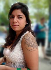 Melanie (Celtic~Dancer) Tags: portrait woman usa girl tattoo virginia sony roanoke brunette sonycybershot earthday dscw80 grandinvillage