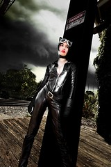 Catwoman (VictoriaCosplay) Tags: girl leather anne cosplay trainstation batman latex dccomics catwoman hathaway rises justiceleague annehathaway selinakyle victoriacosplay wwwcosplaygirlwebscom arkhamcity