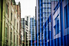 Vertical Blinds (light_arted) Tags: city reflection window glass shop buildings manchester colours blinds coloured strips