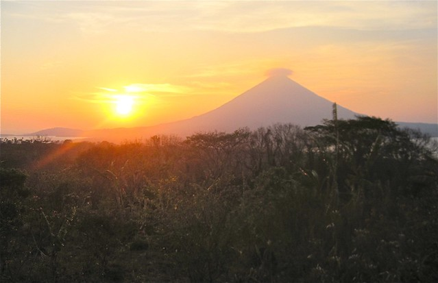 volcano sunset view from a nicaragua eco lodge