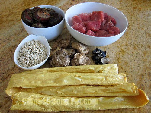[photo-ingredients water chestnut bean curd barley soup]