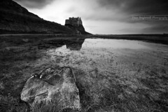 The Castle And The Rock (Dave Brightwell) Tags: uk sea sky blackandwhite bw reflection castle monument water grass rock stone clouds landscape mono coast wide sigma wideangle cliffs northumberland coastal coastline 1020mm northeast hitech holyisland manfrotto sonya550