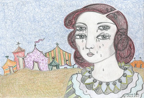 """Circus Girl"" by Catherine Eyde, a pastel drawing in which a girl in a clown shirt cries from her four eyes in front of several closed and apparently empty circus tents"
