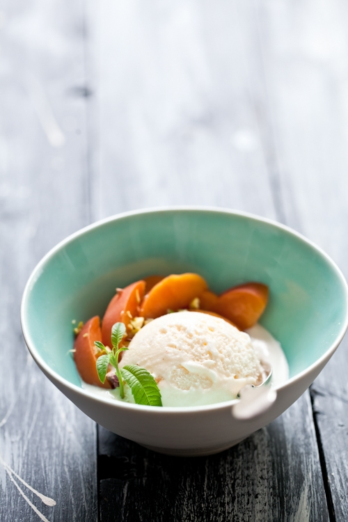 Lemon Verbena Ice Cream & Poached Peaches