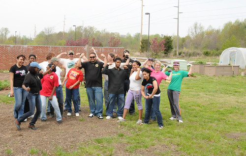 "NRCS employees, MANRRS students and Laura Whalen with the Partnership for the Delaware Estuary show off their ""muscles"" after a busy day of clean-up and planting."