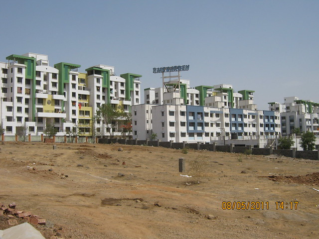 RMC Garden & Savnaah - view from Karia Developers' Konark Meadows behind Moze College in Wagholi on Nagar Road in Pune