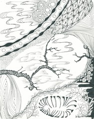 Night Scene - B_W (Jane Dickinson, CZT) Tags: blackandwhite graphicart design pattern drawing doodle zia ebook tangle penandink mindful czt zentangle zentangleart zendoodle tanglepatterns tanglepattern zentangleinspiredart mindfuldrawing