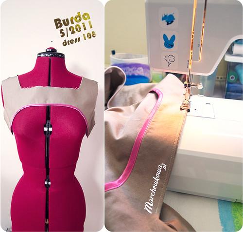 Burda 05/2011 #108, sukienka, szycie, krawiectwo, popelina merceryzowana, bawełna, 60s, 40s, szafiarka, maszyna do szycia z Lidla, Silver Crest,