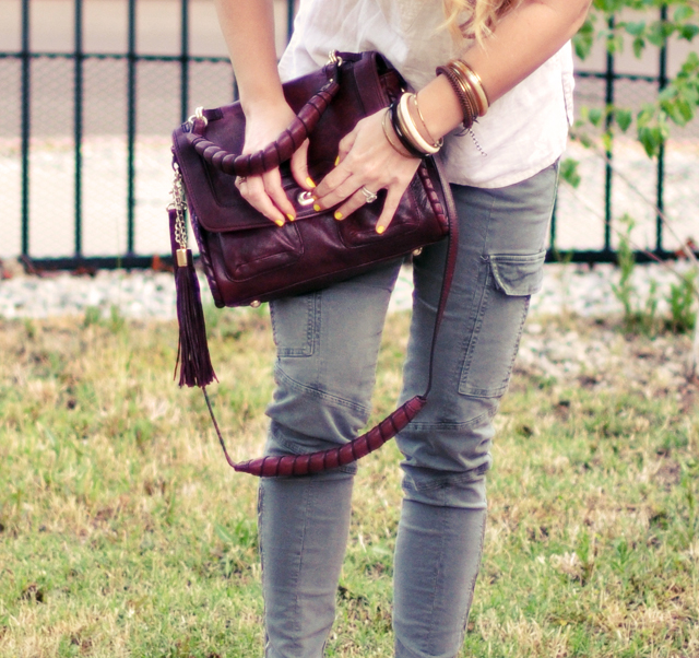 j brand pants  + vintage bracelets and bangles + cynthia rowley constance bag