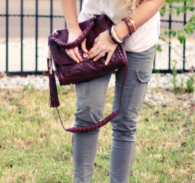 j brand pants  + vintage bracelets and bangles + cynthia rowley constance bag