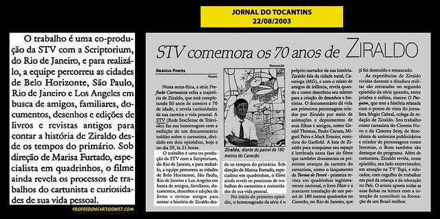 """""""STV comemora os 70 anos de Ziraldo"""" - Jornal do Tocantins - 22/08/2003"""