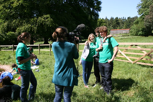 Laura interviewing Wildscreen volunteers Becky, Ben and George