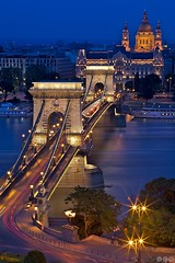 Chain bridge (Budapest) / Szchenyi Lnchd / etzov most (Jirka Chomat) Tags: street city bridge light sunset church night river long hungary budapest chain most noc kostel chainbridge msto dunaj eka chrm svtlo maarsko budape
