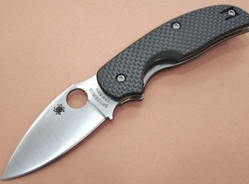"""Spyderco Sage Folding Knife 3"""" S30V Plain Blade, Carbon Fiber Handles"""
