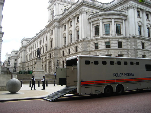 Police horses and policemen by the Cabinet War Rooms