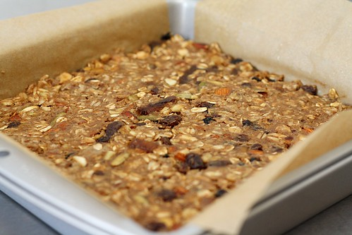 unbaked granola bars in pan
