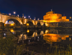 Castel Sant'Angelo - Rome - Italy (sandilesmana28) Tags: reflection slow speed water blue hour dome roma italy river explore