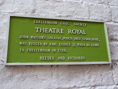 Photo of George III, Theatre Royal Cheltenham, and John Watson green plaque