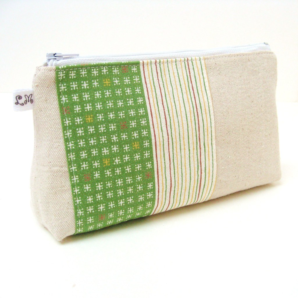 Zipper Cosmetic Makeup Bag Pouch Purse - Asagohan Green Pattern and Stripes