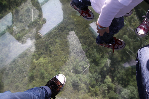 Looking through the glass floor: it's a long way down!