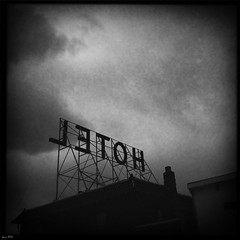 Hotel-Explored 3/25 (pam's pics-) Tags: bw history sign hotel colorado motel eerie haunted creepy co smalltown iphone cellphonephotography fairplaycolorado pammorris appleiphone iphone4 mobilephonephotography handhotel denverpam hipstamatic blackeyssupergrainfilm tejaslens
