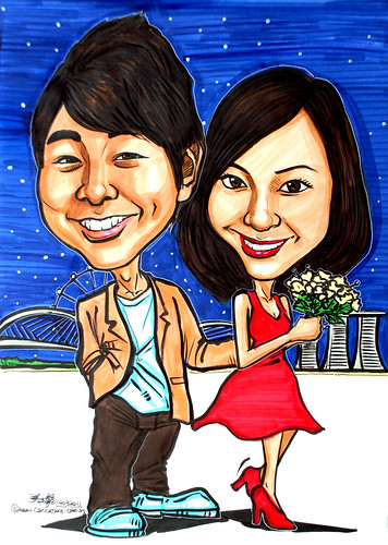 Couple caricatures at Helix Bridge MBS Singapore Flyer