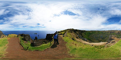 Rano Kau on the Pacific (Man) Tags: chile panorama village pacific unesco full easterisland unescoworldheritage spherical worldheritage 360 ceremonial orongo equirectangular