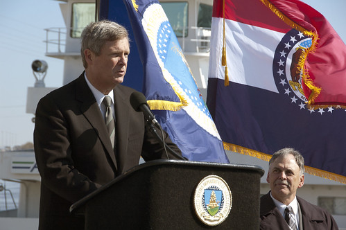 "Secretary Vilsack on the Mississippi River, with a grain elevator towering behind him, told the audience: ""U.S. farm exports will support more than 1.1 million jobs in 2011. But we can do better."""