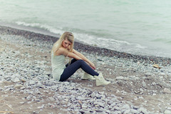 XXXVIII {castaway} (Shandi-lee) Tags: lake canada cold green beach water girl canon castaway 50mm grey beige rocks aqua waves alone boots turquoise pastel 14 longhair tights pebbles 7d april tight blondehair tones booties tides leggings girlonbeach
