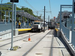 Expo Line Rail Car Clearance Testing: USC/Expo Park Station (jwalker64) Tags: county light test car train project los construction expo metro angeles authority rail line exposition transportation transit vehicle mta clearance lrt metropolitan hirail lacmta lrv