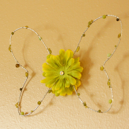 Hand formed and beaded Butterfly wire wall decor by Ladybugs & Bullfrogs