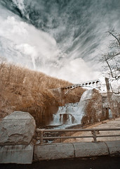 Croton Gorge Infrared (Excaliber2013) Tags: blackandwhite color ir afternoon dam canoneos20d infrared gorge croton standard false falsecolor lifepixel