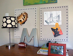 Desk Area (Libbie Grove Design) Tags: blue green lamp painting football bedroom beige cowboy desk metallic tan m polkadots tack nailhead bullitenboard dropcloth neutral boysroom boysbedroom