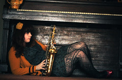Ladies and Gentlemen, Here's Clarence! (Grace Virginia Photography) Tags: old light music love girl yellow alaska hair photography sad legs cola piano grand tights grace curly kari instrument teapot lovely ruby instruments alto coca slippers saxophone wasilla