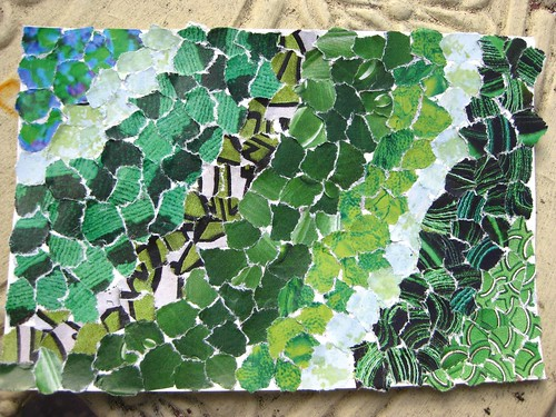 handmade postcard - greens
