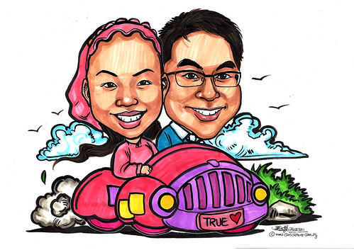 True Love couple caricatures