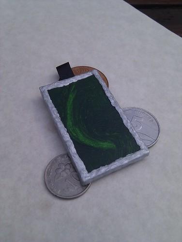Malachite & silver relief pendant