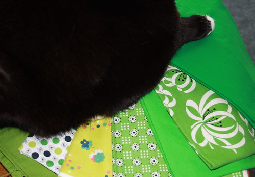 the green schmidt fabric with cat