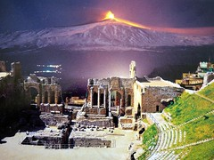 Taormina - Magic of one night (Luigi Strano) Tags: italy europa europe italia mount sicily 1001nights taormina etna sicilia volcanos   vulcani  teatrogrecoromano