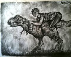 dinoself (tawneesmith) Tags: portrait art girl dinosaur drawing charcoal jockey huge trex tyrannosaurus