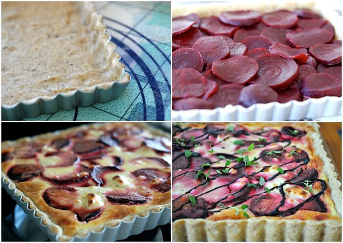 peedi-kitsejuustupiruka tegemine/making of beetroot and goat cheese tart