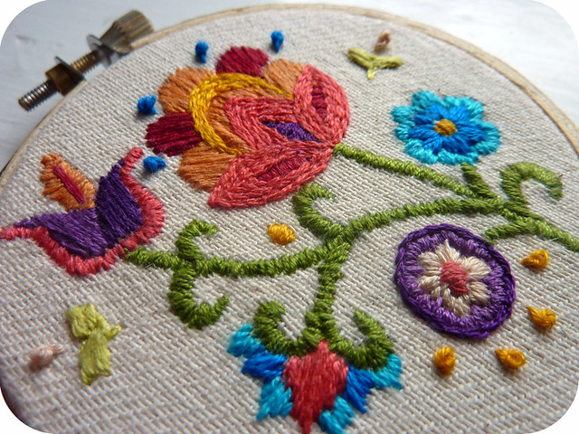 jacobean crewelwork, detail