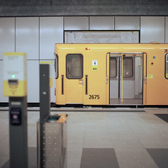 U55 (christian.senger) Tags: city light urban berlin texture abandoned 6x6 film station yellow rollei analog rolleiflex train mediumformat germany underg