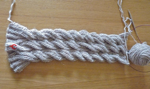Dawn's Reversible cable knit scarf.