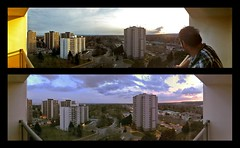 Burlington  High rise skies (Dave Noyle) Tags: sunset two panorama ontario canada burlington high apartment angle shots balcony wide panoramic highrise april rise iphone 2011 photosynth
