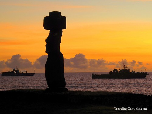 Easter Island Maoi Statues at Sunset