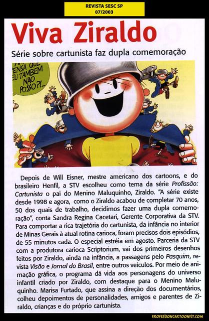 """""""Viva Ziraldo"""" - Revista SESC-SP - julho/2003"""